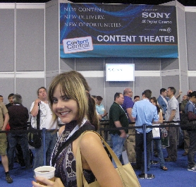 Aimee in front of the Content Theater at NAB 2009